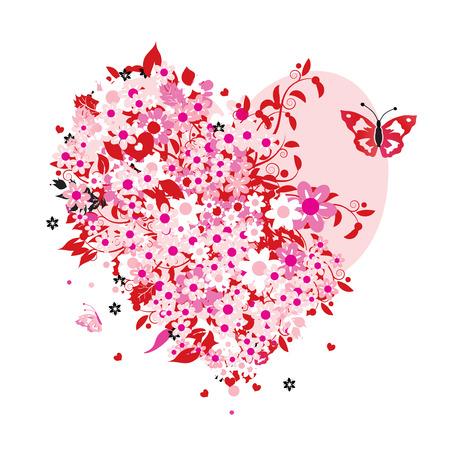 AlleinerzieherIn: Floral Herz Form Illustration