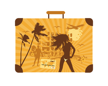 Summer holiday, suitcase Vector