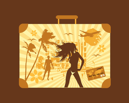 Summer travel, suitcase Stock Vector - 4837453