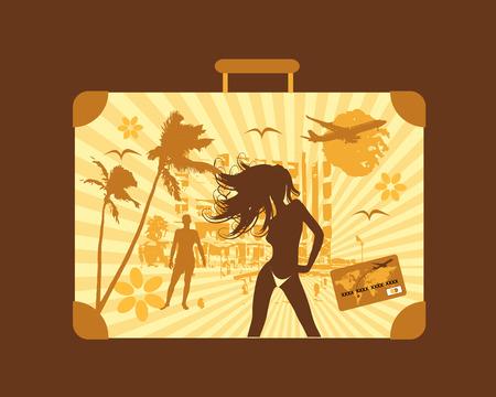 Summer travel, suitcase Vector