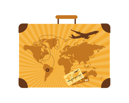 Summer travel, suitcase Illustration
