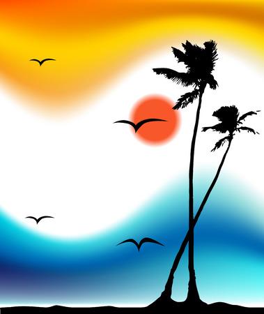 mouettes: Tropical le coucher du soleil, de palmiers silhouette Illustration