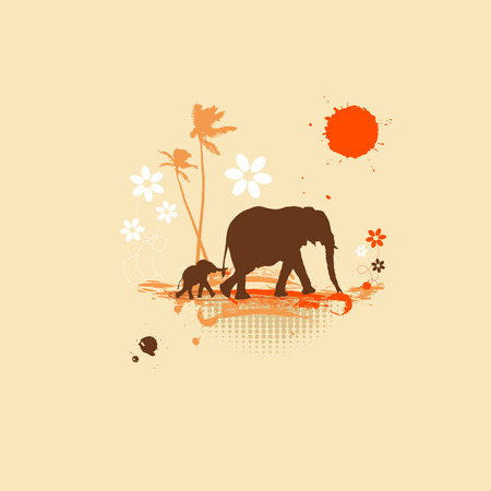 silhouettes elephants: Familia de elefantes, la ilustraci�n de verano
