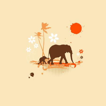 Family of elephants, summer illustration