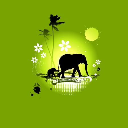 Familie von Elefanten, Sommer illustration