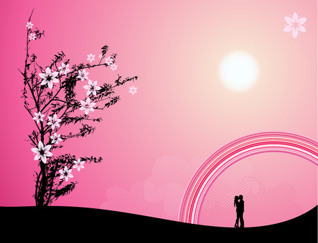 Pink sunset, love Stock Vector - 4970682