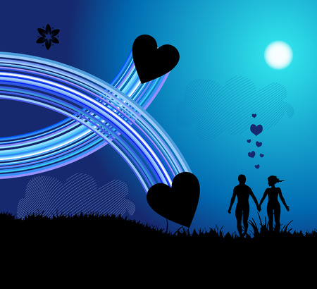 Romantic walk Vector