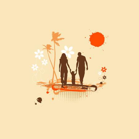 Happy family, summer holiday Vector
