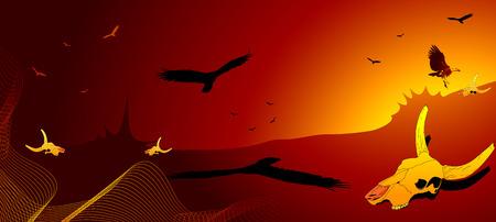 vulture: Dry desert, vulture and cow skull Illustration