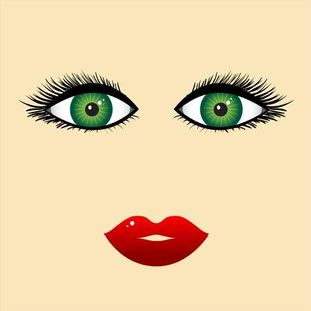 cilia: Woman face, close-up Illustration