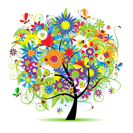 Floral tree beautiful Vector