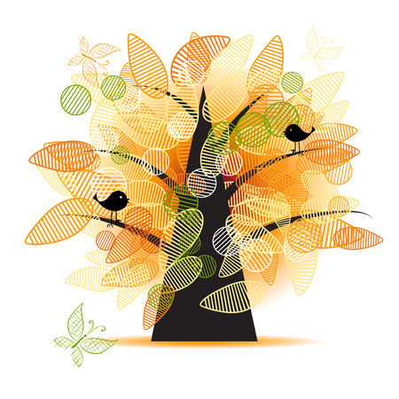 Art tree beautiful for your design Stock Vector - 5158650
