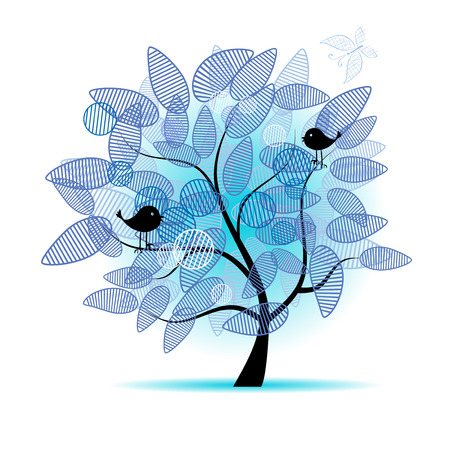 Art tree beautiful for your design Illustration