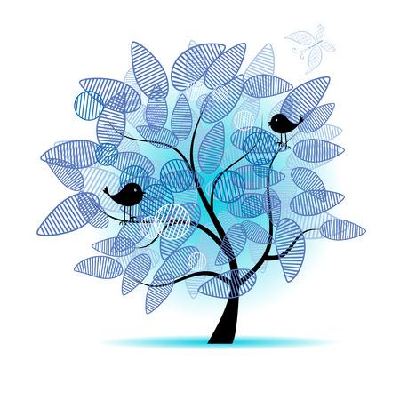 boom met vogels: Kunst mooie boom voor uw ontwerp Stock Illustratie
