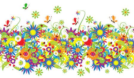 Summer day. Floral seamless background for your design Illustration