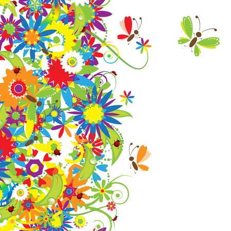 Summer day. Floral seamless background for your design