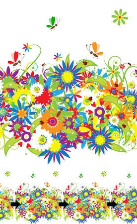 Summer day. Floral seamless background for your design Vector