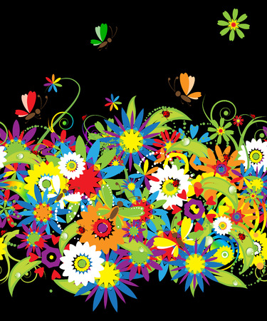Summer night. Floral seamless background for your design Vector