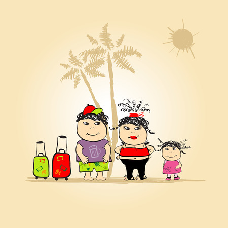 Family travel, summer holiday. See also similar work in my gallery Vector