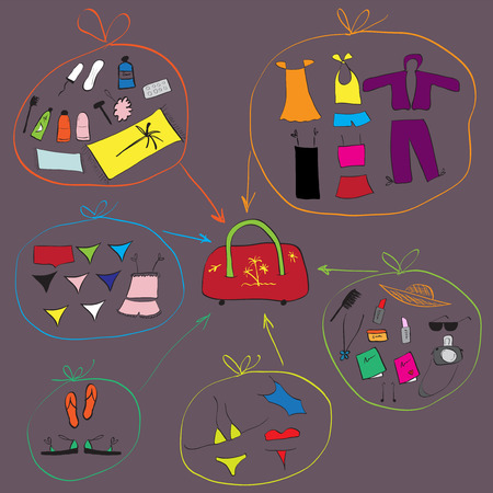 toiletry: List of clothes for travel. See also similar work in my gallery Illustration
