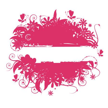 pink bushes: Floral frame, summer illustration