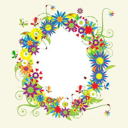 Floral frame, summer illustration Vector