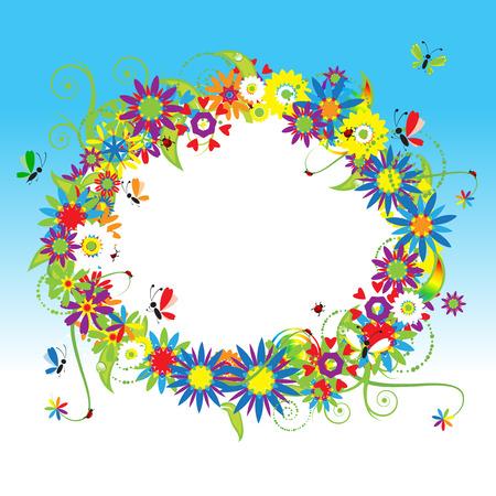 Floral frame, summer illustration Vector