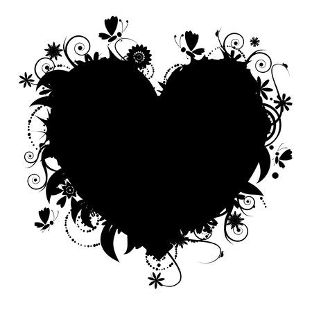 shape vector: Floral heart shape for your design