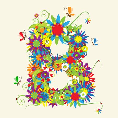 Lettre B, dessin floral. Voir aussi les lettres dans ma galerie