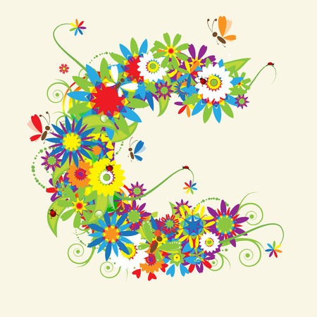 floral ornaments: Letter C, floral design. See also letters in my gallery Illustration