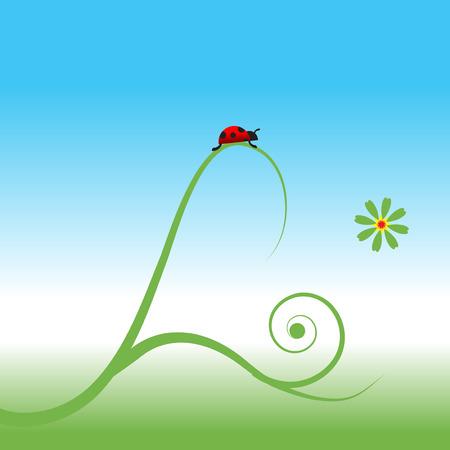 Ladybug, spring background Stock Vector - 5262001