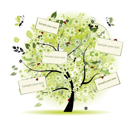 deseos: Deseo de �rboles florales con las tarjetas de su texto