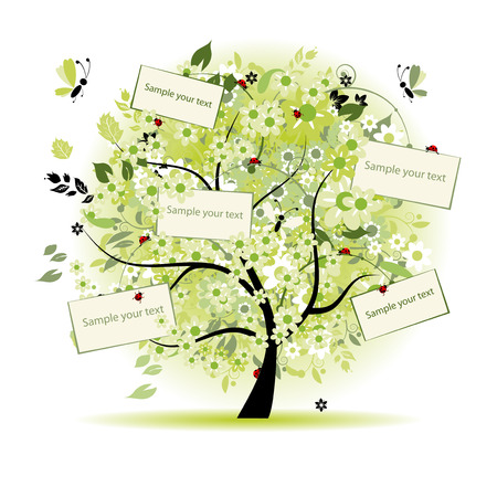 Wish tree floral with cards for your text Vector