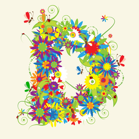 Letter D, floral design. See also letters in my gallery Stock Vector - 5268118