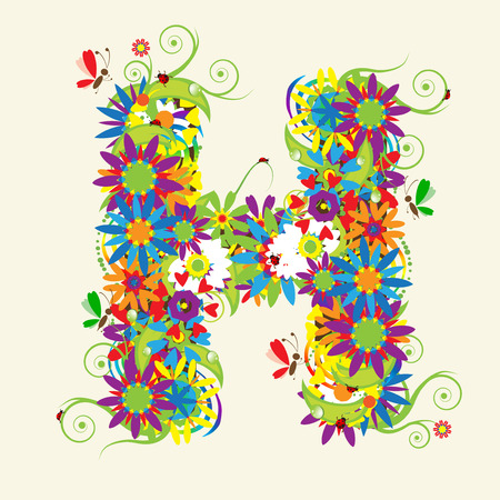 Letter H, floral design. See also letters in my gallery Vector