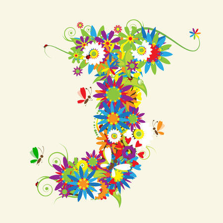 Letter J, floral design. See also letters in my gallery Vector