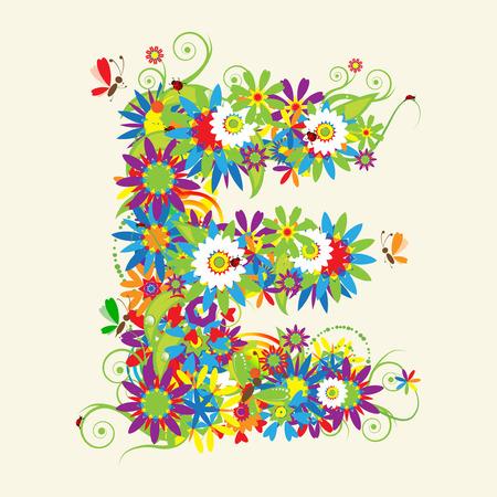butterfly ladybird: Letra E, de dise�o floral. V�ase tambi�n las letras de mi galer�a