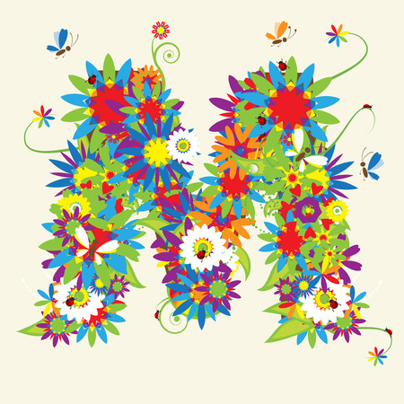 letra m: Letra M, de dise�o floral. V�ase tambi�n las letras de mi galer�a