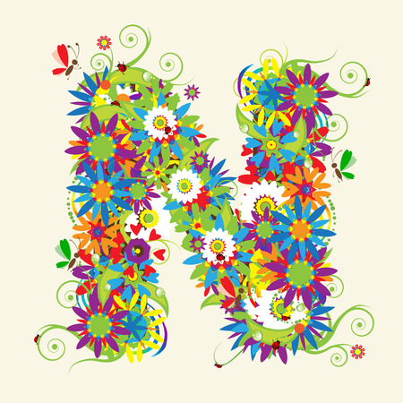 floral backgrounds: Letter N, floral design. See also letters in my gallery