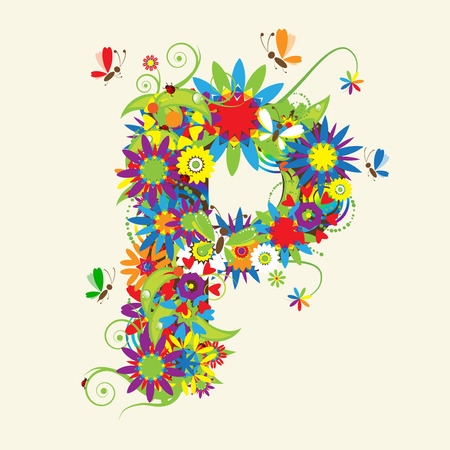 Letter P, floral design. See also letters in my gallery