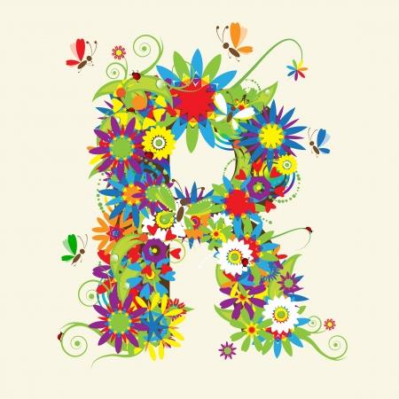 Lettre R, floral design. Voir aussi les lettres dans ma galerie