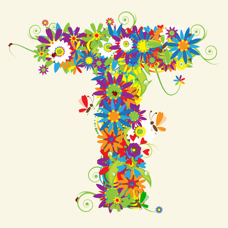floral letters: Letter T, floral design. See also letters in my gallery