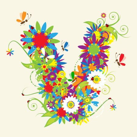 alphabet wallpaper: Letter V, floral design. See also letters in my gallery
