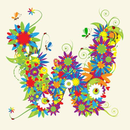butterfly ladybird: Letra W, dise�o floral. V�ase tambi�n las letras de mi galer�a Vectores