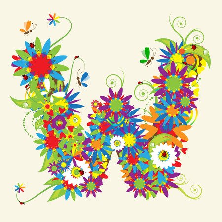 Letter W, floral design. See also letters in my gallery Vector