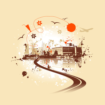 Cityscape background, urban art Stock Vector - 5278672
