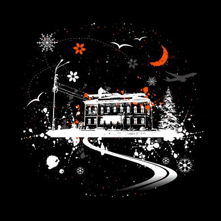 nuit hiver: Vieille maison, nuit d'hiver Illustration