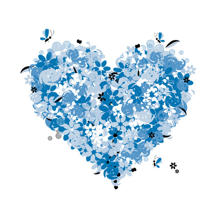 Floral heart shape, love Vector