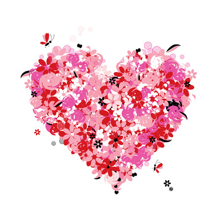 Floral heart shape, love Vector