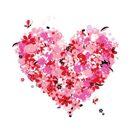 shapes cartoon: Forma de coraz�n floral, el amor Vectores